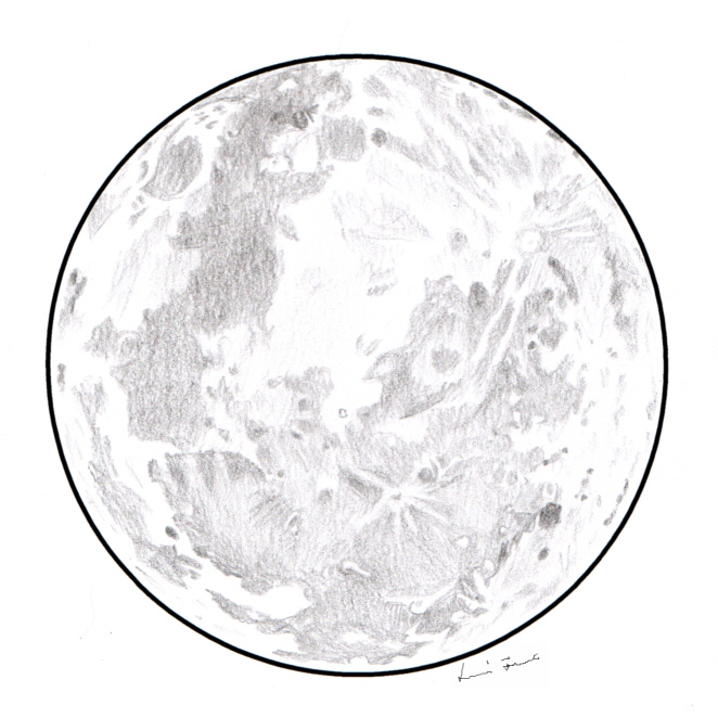 Line Drawing Moon : Graphite galaxy full moon